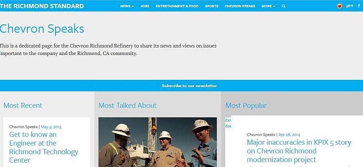"""Der Ölkonzern Chevron hat die insolvente Tageszeitung Richmond Standard übernommen und atrikuliert sich dort sehr deutlich in der Rubrik """"Chevron Speaks""""."""