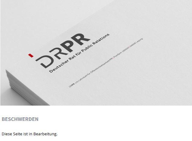 """Ein stumpfes Schwert: Die Rubrik """"Beschwerden"""" beim PR-Rat ist seit Monaten """"in Bearbeitung"""" (Screenshot vom Mai 2015)."""