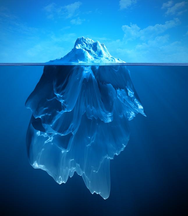 Das Eisberg-Syndrom der Medien: Viele Nutzer sehen nur, was sich auf der Oberfläche ihres Endgerätes abspielt. Foto: Fotolia/dizain